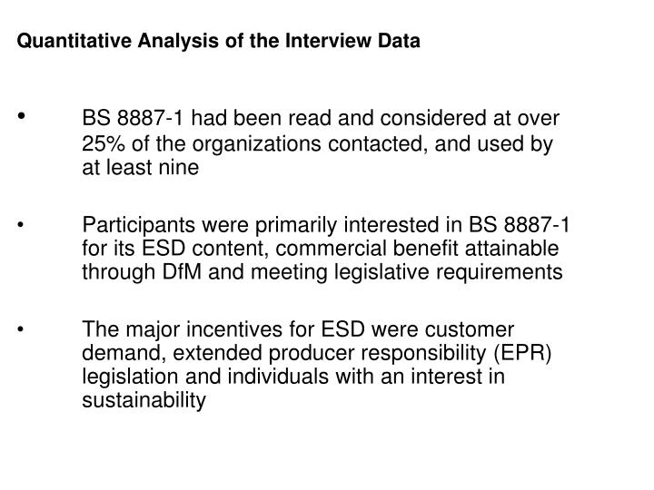 Quantitative Analysis of the Interview Data