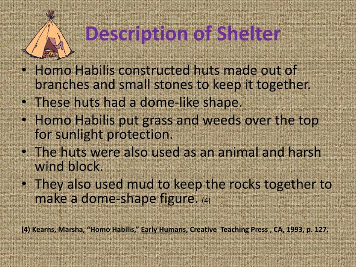 Description of Shelter