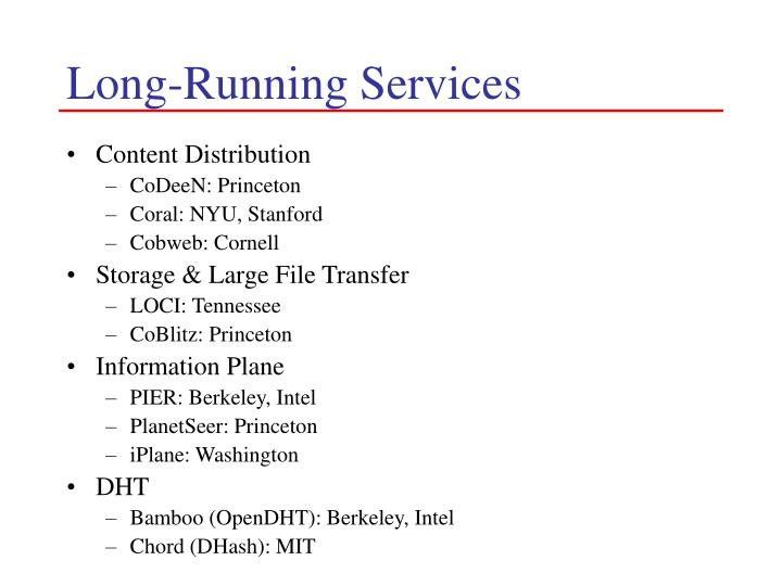 Long-Running Services