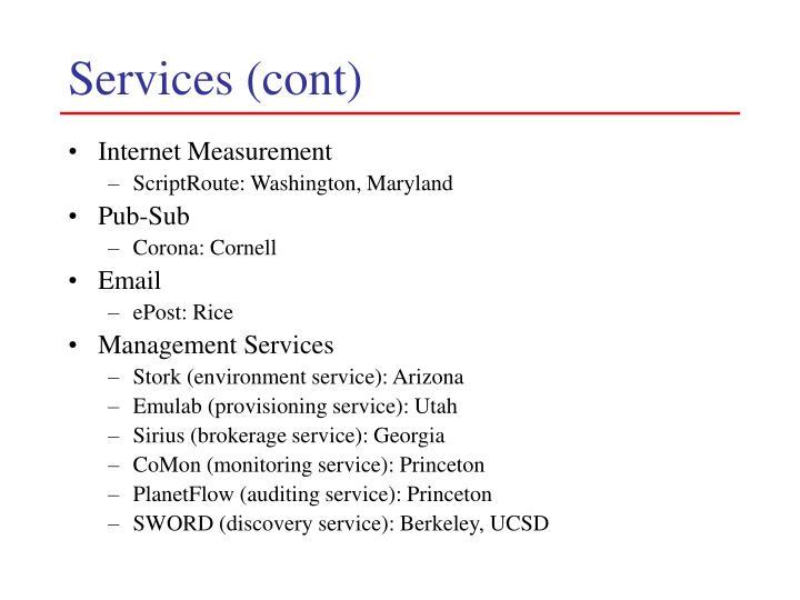 Services (cont)