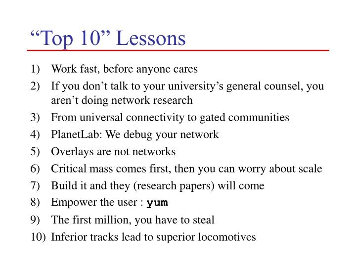 """""""Top 10"""" Lessons"""