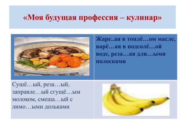 «Моя будущая профессия – кулинар»