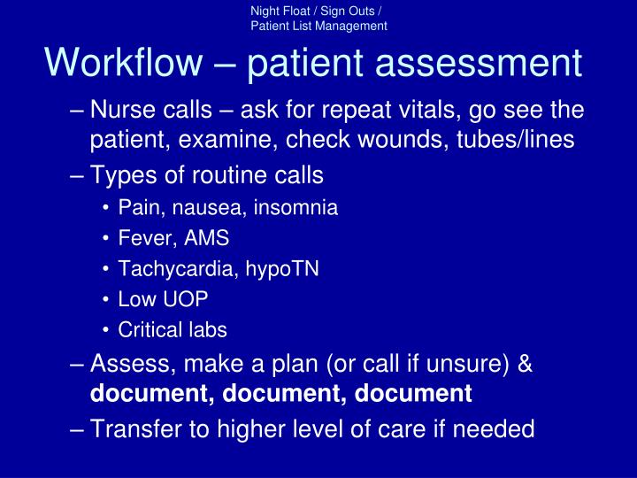 Workflow – patient assessment