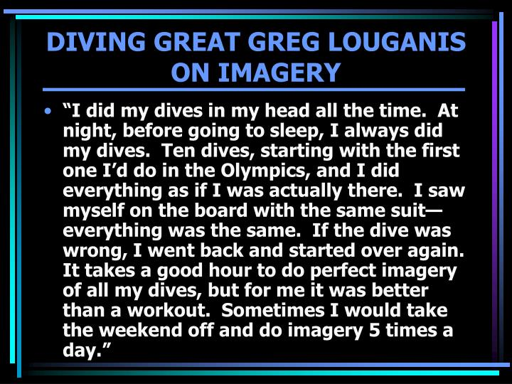 DIVING GREAT GREG LOUGANIS
