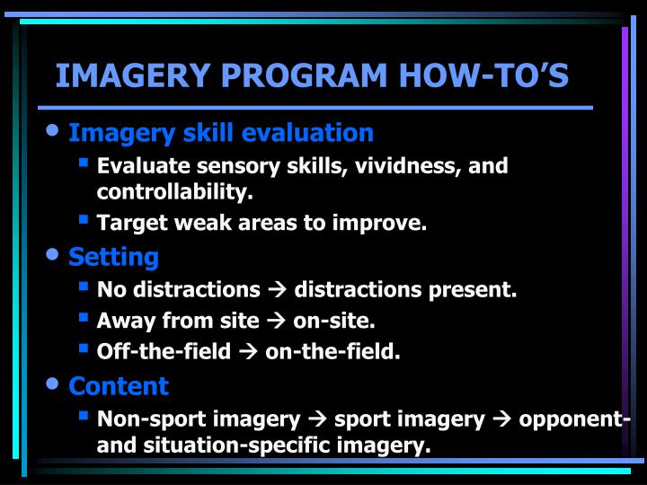 IMAGERY PROGRAM HOW-TO'S
