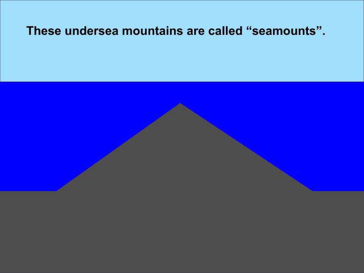 "These undersea mountains are called ""seamounts""."