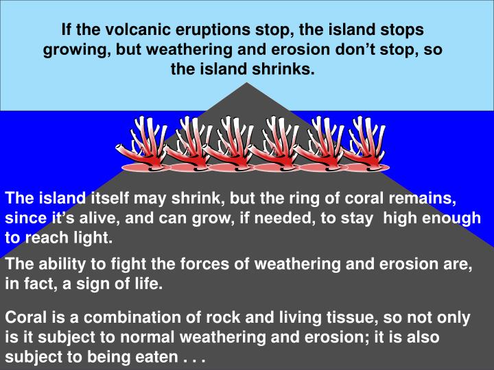 If the volcanic eruptions stop, the island stops growing, but weathering and erosion don't stop, so the island shrinks.