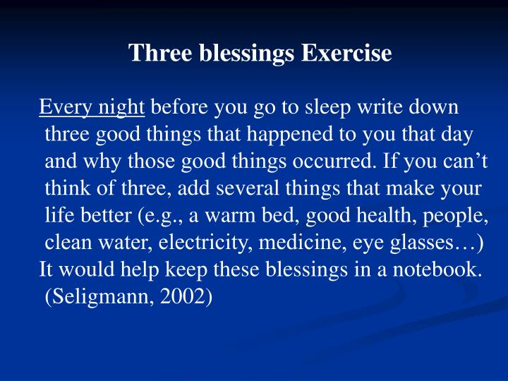 Three blessings Exercise