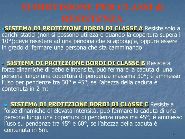 SUDDIVISIONE PER CLASSI di RESISTENZA