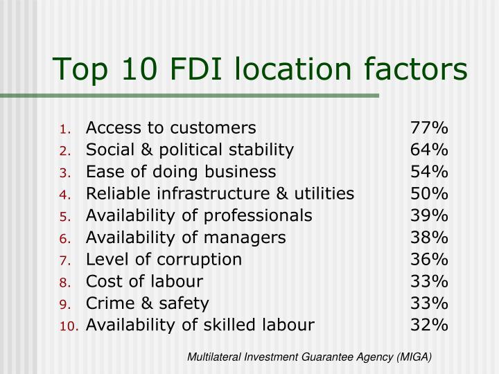 Top 10 FDI location factors