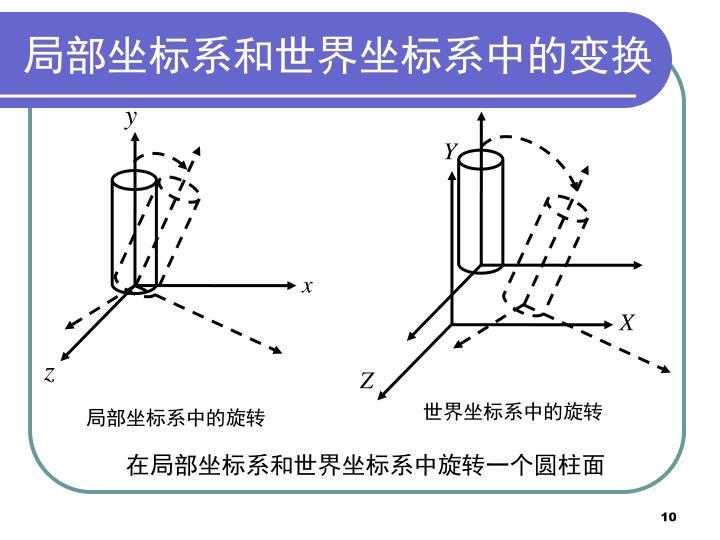 局部坐标系和世界坐标系中的变换