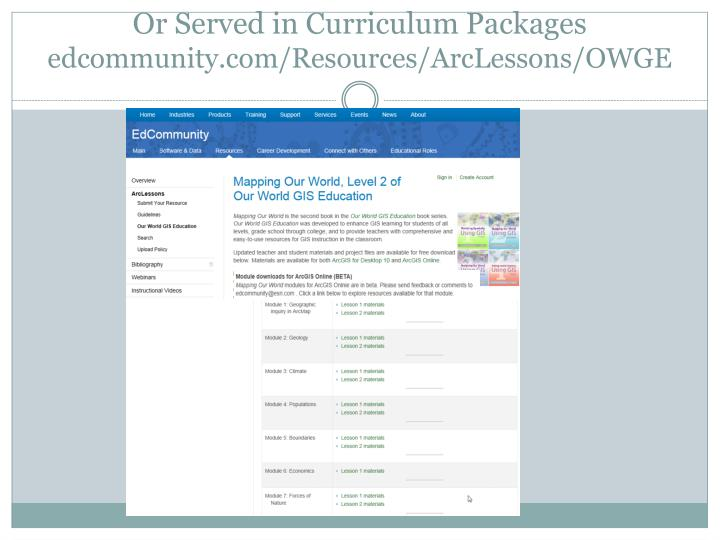Or Served in Curriculum Packages