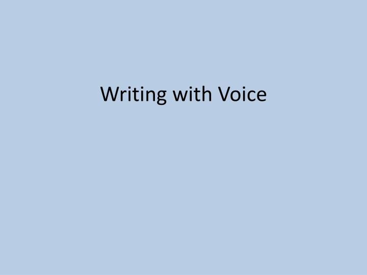 voice writing