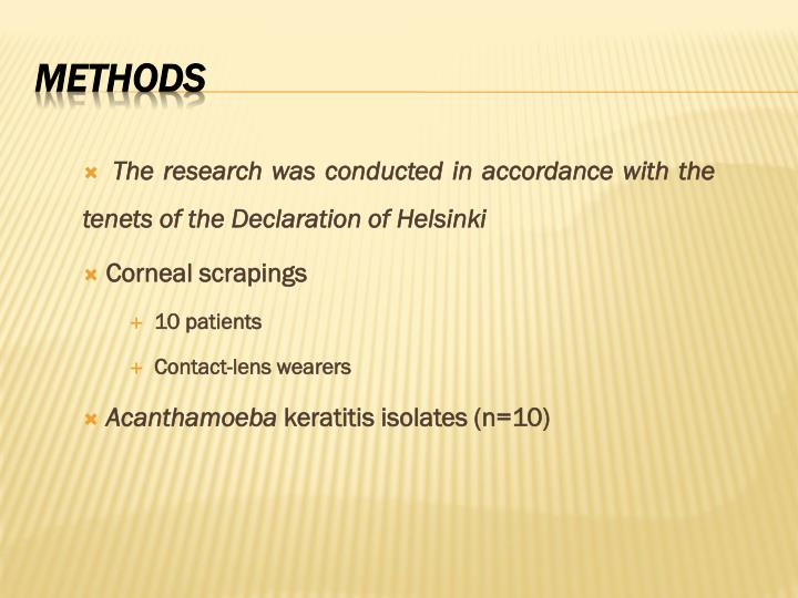 The research was conducted in accordance with the tenets of the Declaration of Helsinki