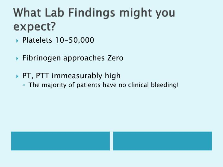 What Lab Findings might you expect?