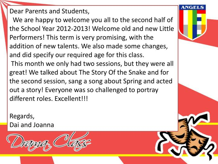 Dear Parents and Students,