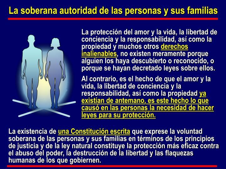 La soberana autoridad de las personas y sus familias