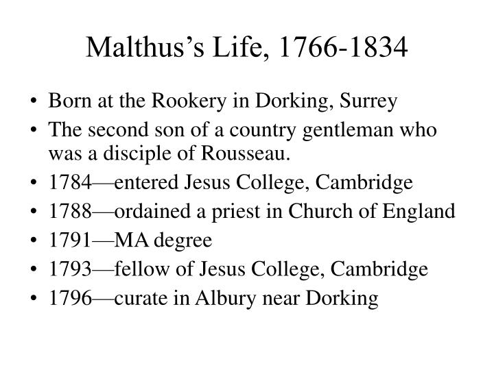 Malthus's Life, 1766-1834