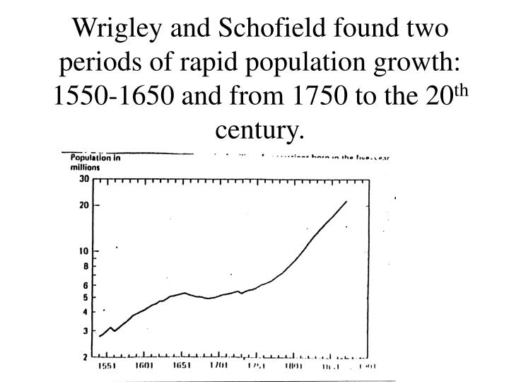 Wrigley and Schofield found two periods of rapid population growth:  1550-1650 and from 1750 to the 20