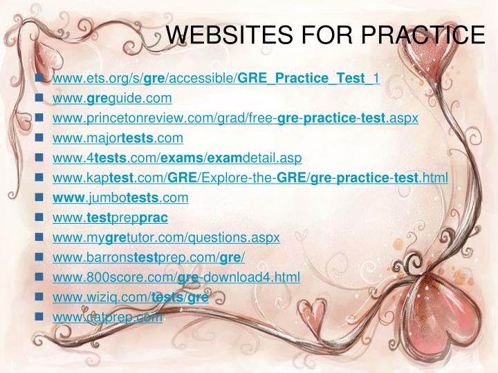WEBSITES FOR PRACTICE