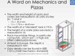 a word on mechanics and pizzas