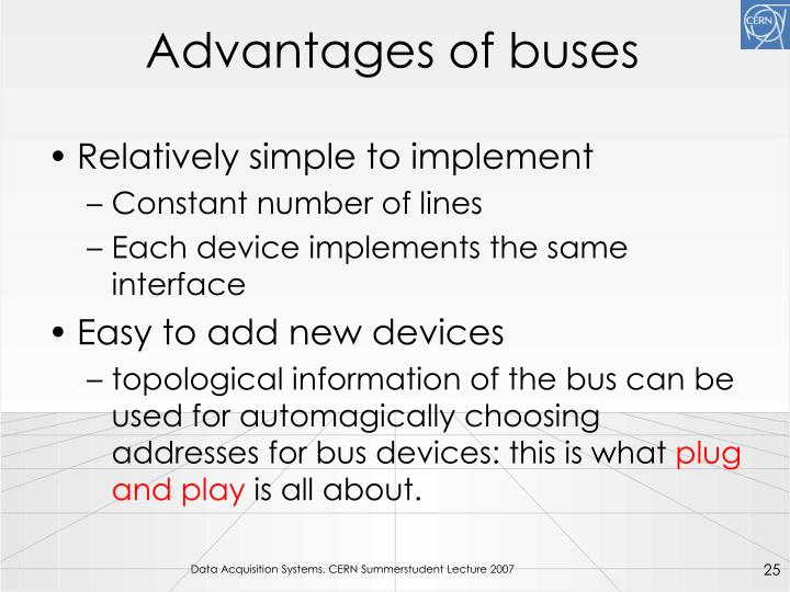 Advantages of buses