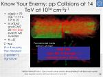 know your enemy pp collisions at 14 tev at 10 34 cm 2 s 1