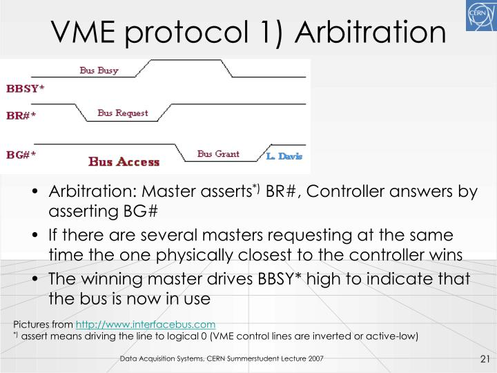 VME protocol 1) Arbitration