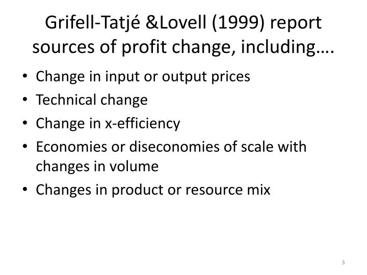 Grifell tatj lovell 1999 report sources of profit change including