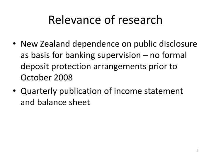 Relevance of research