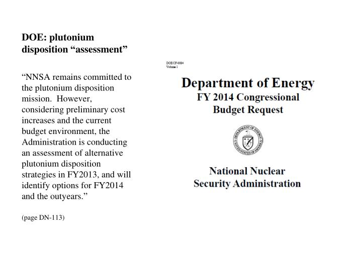 "DOE: plutonium disposition ""assessment"""