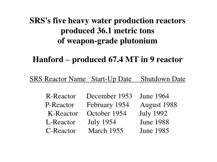 SRS's five heavy water production reactors