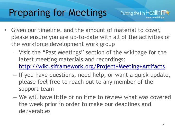 Preparing for Meetings