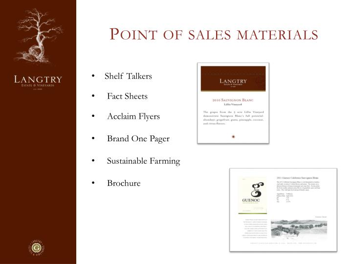 Point of sales materials