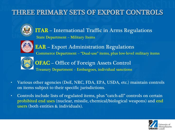 Three primary sets of export controls