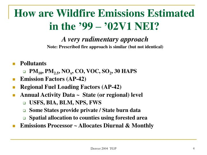 How are Wildfire Emissions Estimated in the '99 – '02V1 NEI?