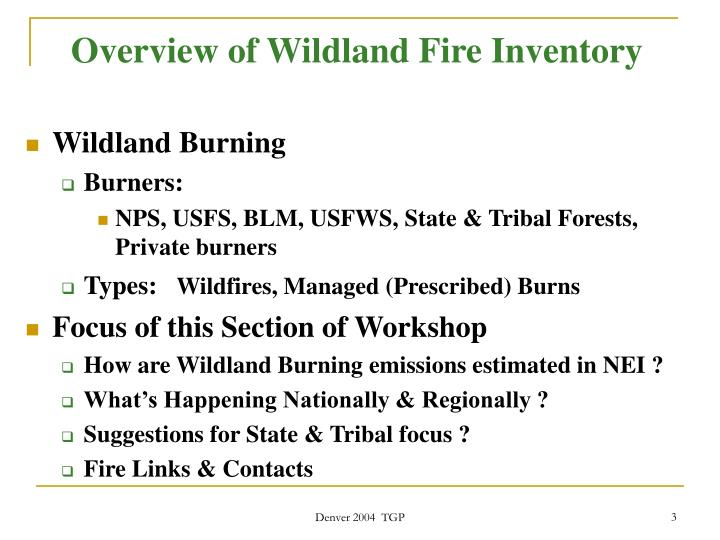 Overview of wildland fire inventory