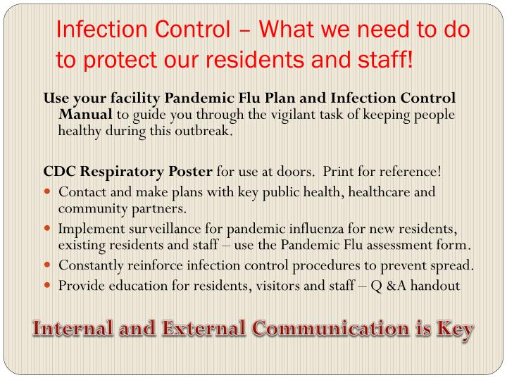 Infection Control – What we need to do to protect our residents and staff!