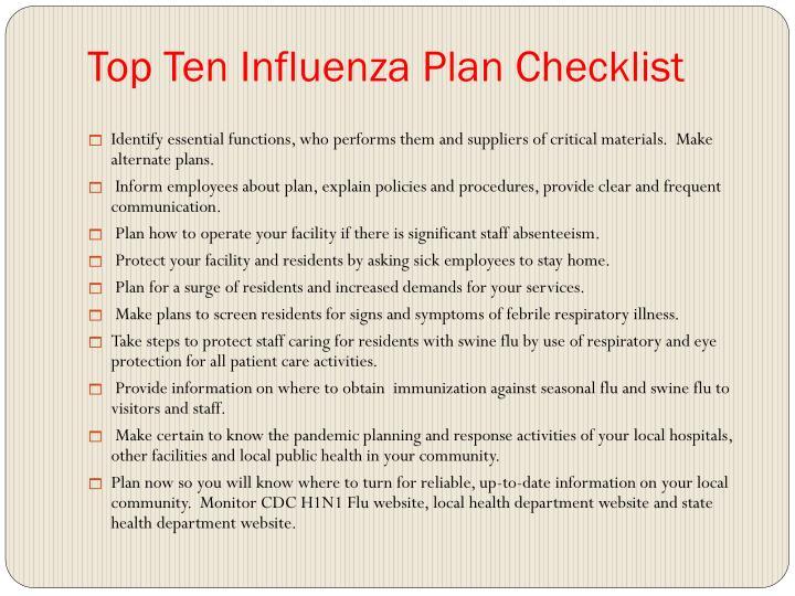 Top Ten Influenza Plan Checklist