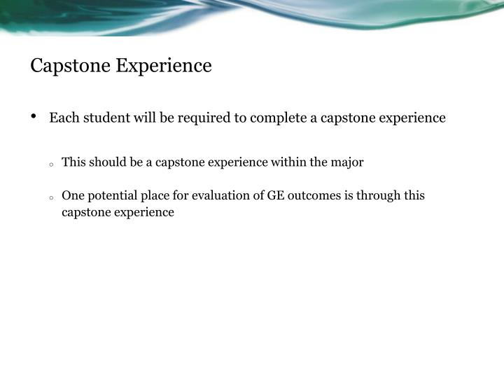 Capstone Experience
