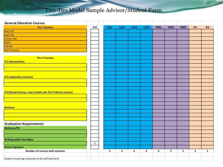 Two-Tier Model Sample Advisor/Student Form