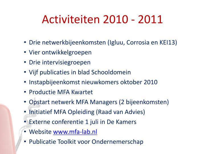 Activiteiten 2010 - 2011