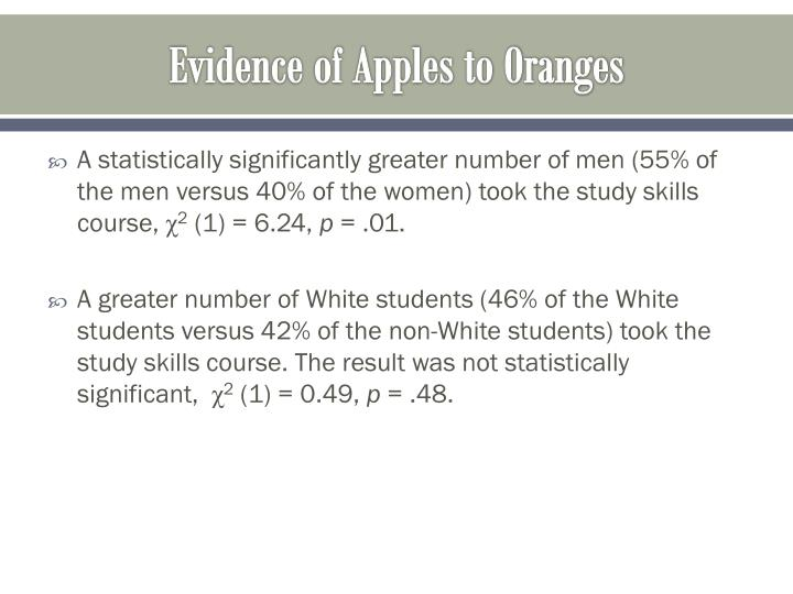 Evidence of Apples to Oranges