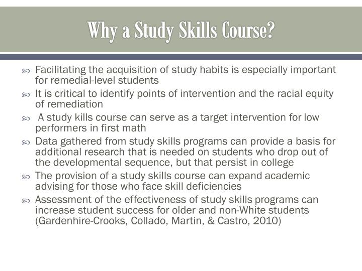 Why a Study Skills Course?