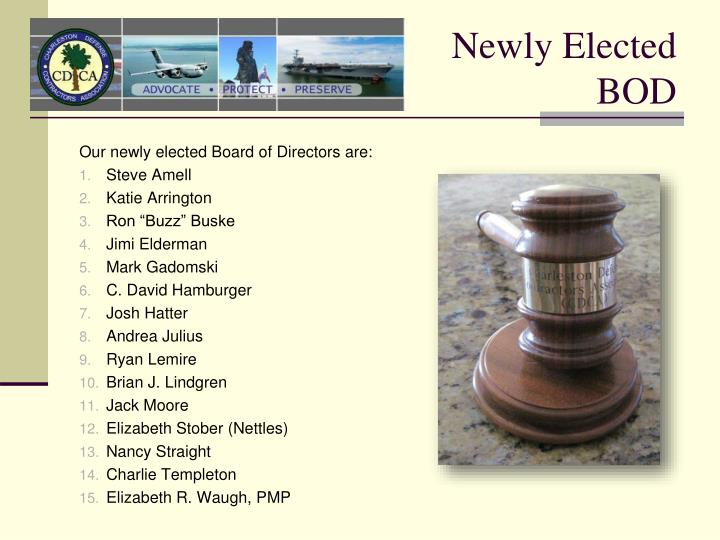Newly Elected BOD