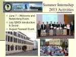 summer internship 2013 activities