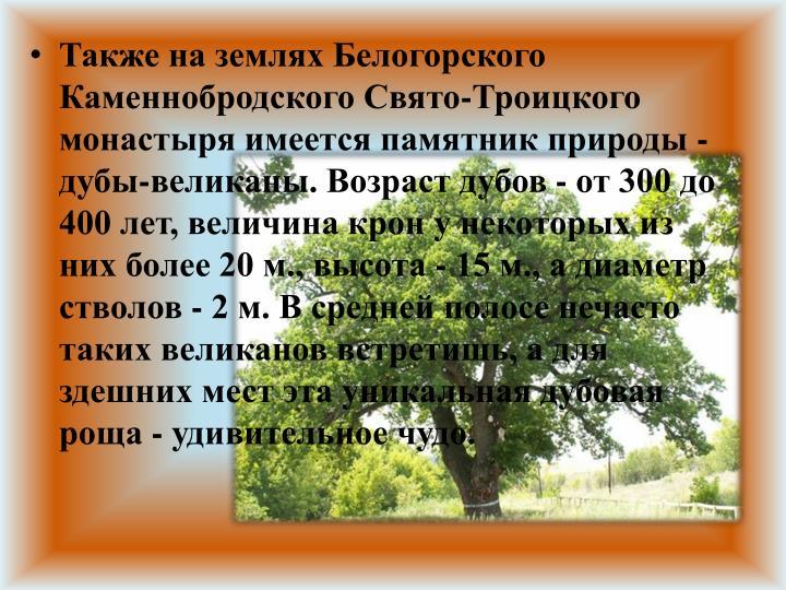 Также на землях Белогорского