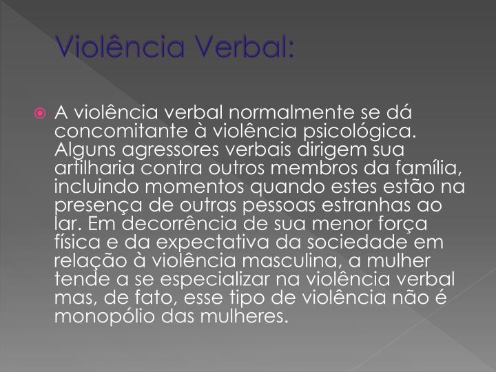 Violência Verbal: