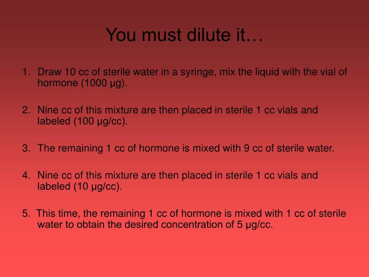 You must dilute it…