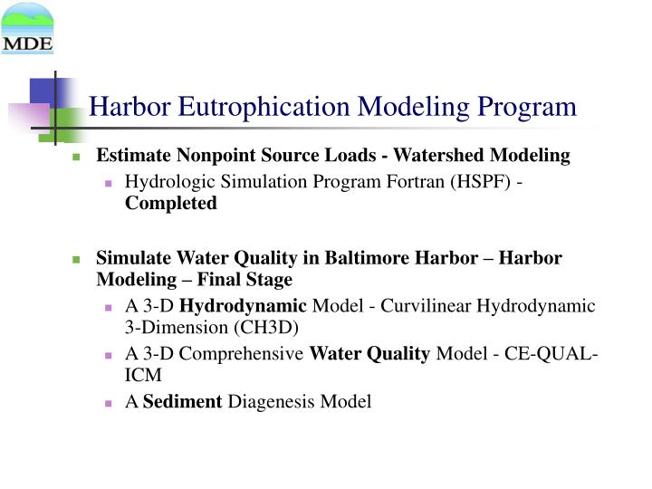 Harbor Eutrophication Modeling Program
